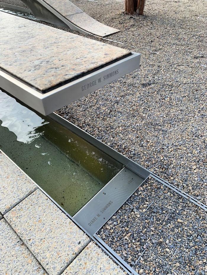 memorial bench at 9/11 memorial at the pentagon