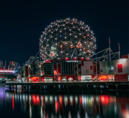 telus world of science vancouver at night