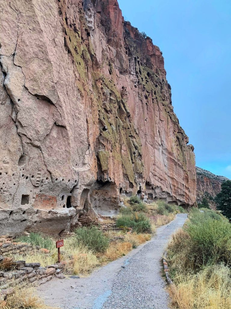 rock face with caves at bandelier national park