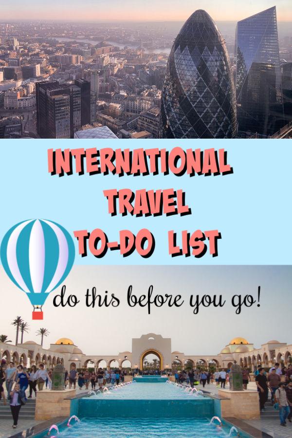 travelling internationally checklist graphic