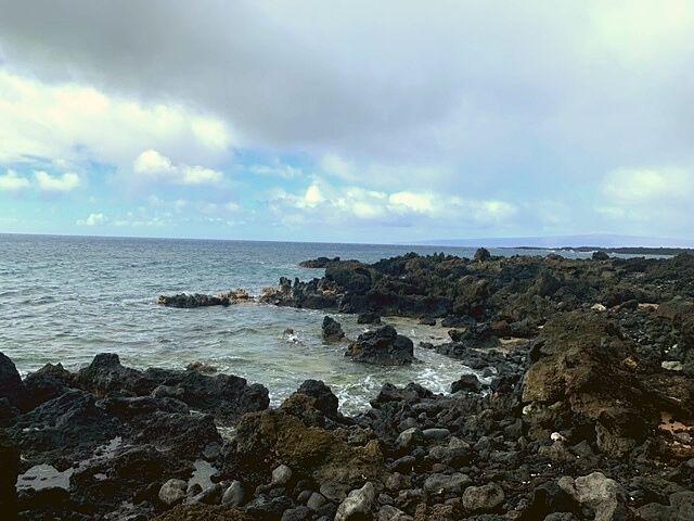 rocky beach area at the Maui lava fields.