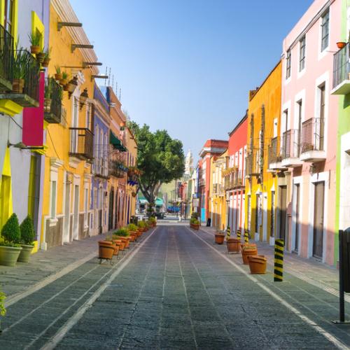 Colorful street in Puebla