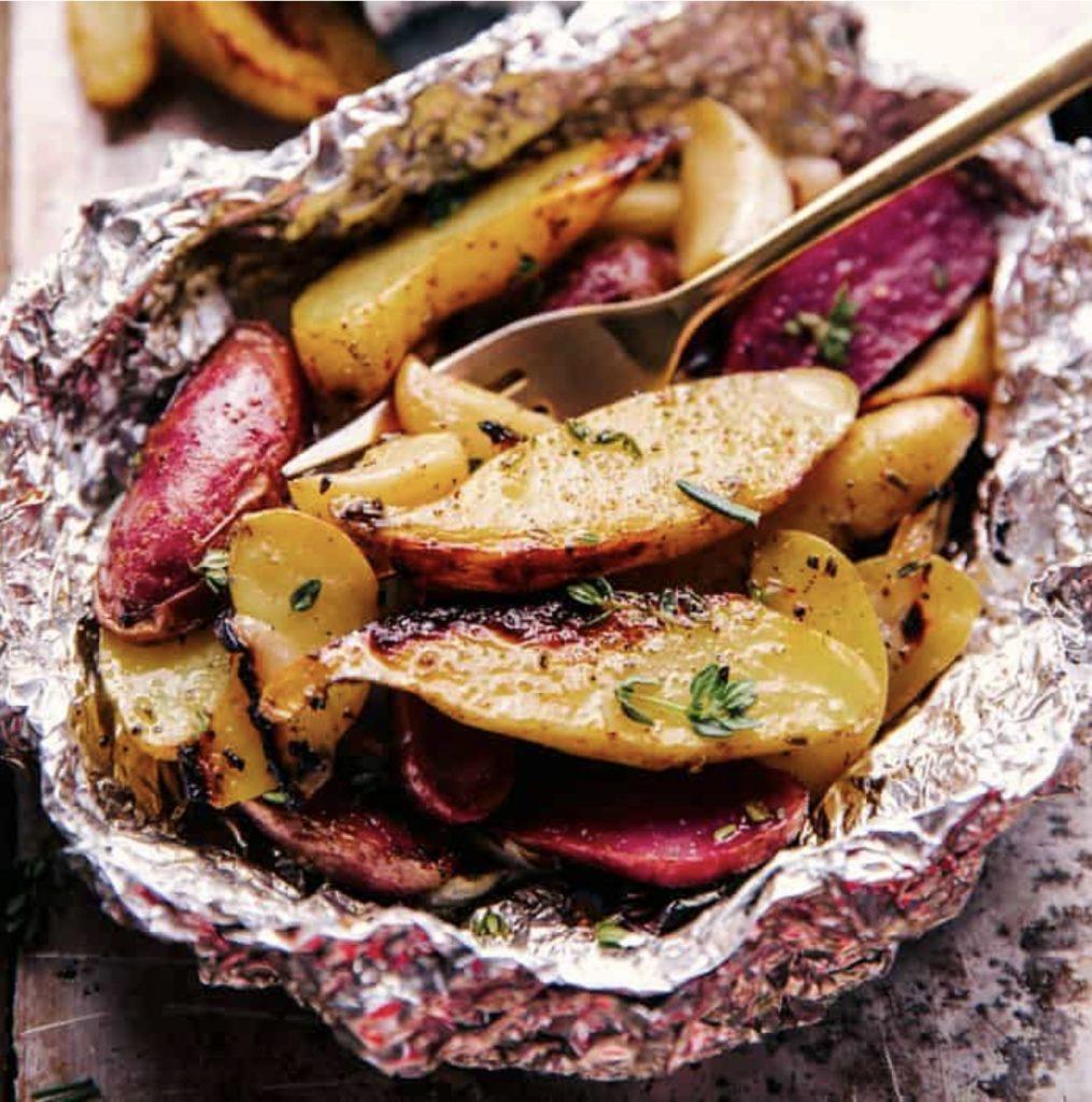 Garlic potato foil packets.