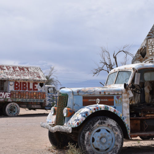 Painted truck at Salvation Mountain California.